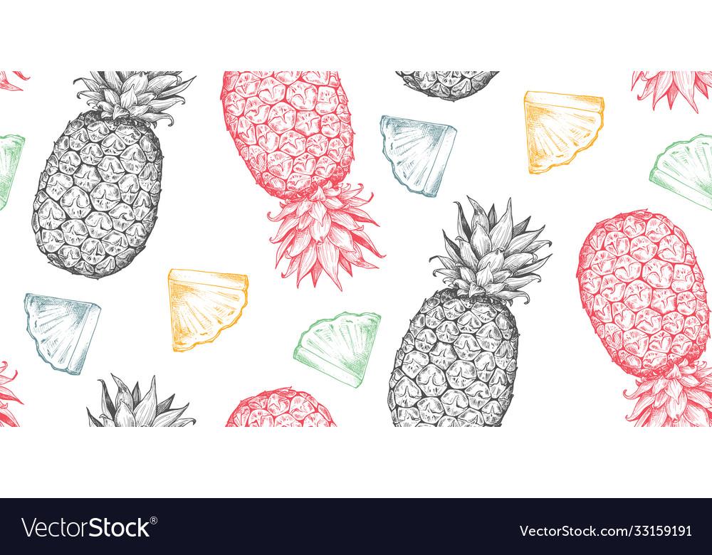 Seamless pattern with hand drawn fresh