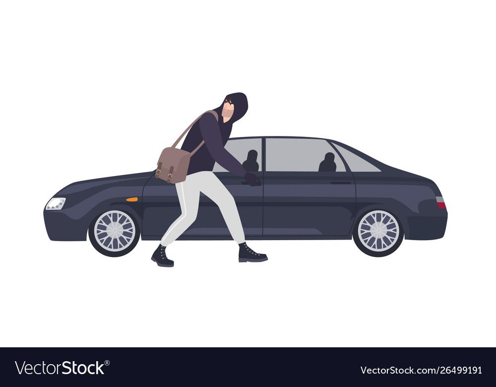 Thief burglar or rubber dressed in hoodie