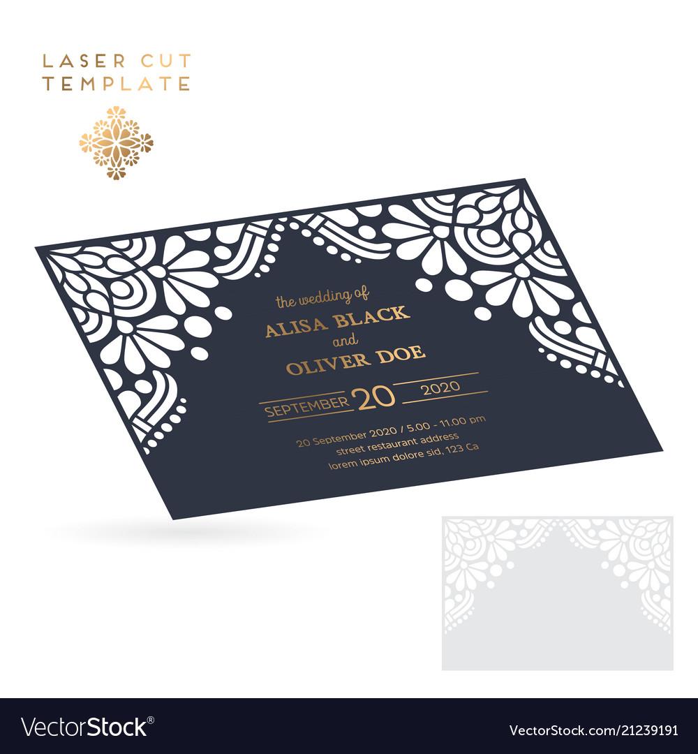 Wedding card laser cut template vintage