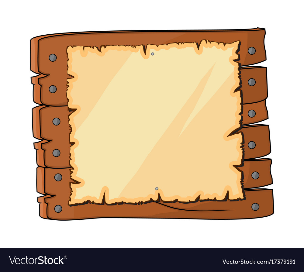 Wooden plaque sign with paper symbol icon design vector image