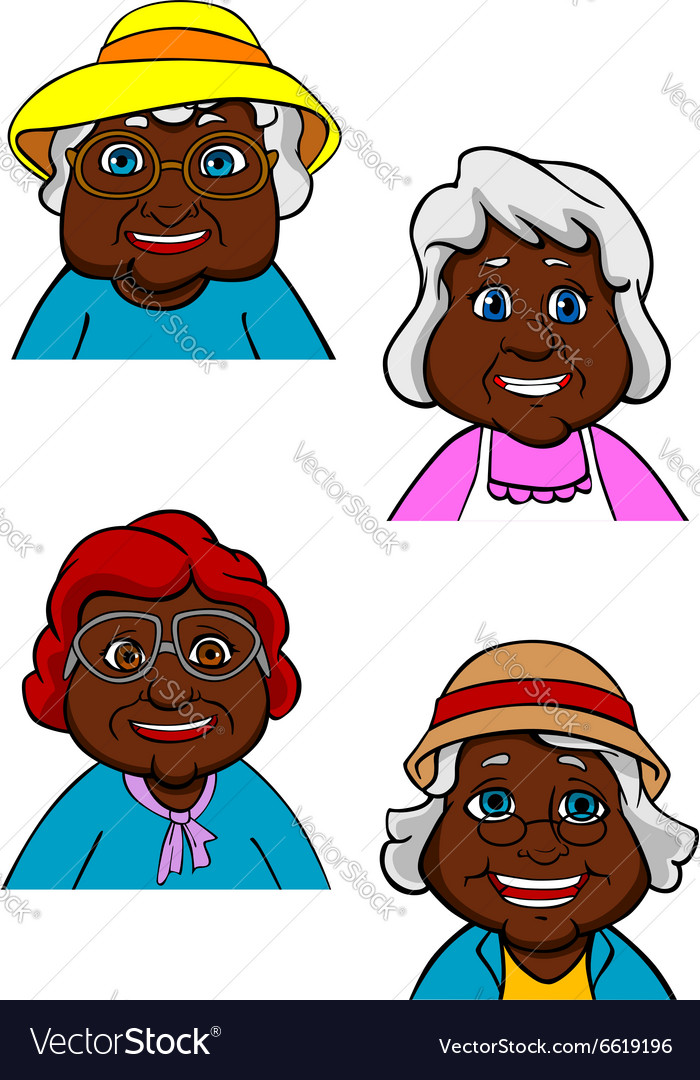 Active smiling old women cartoon characters