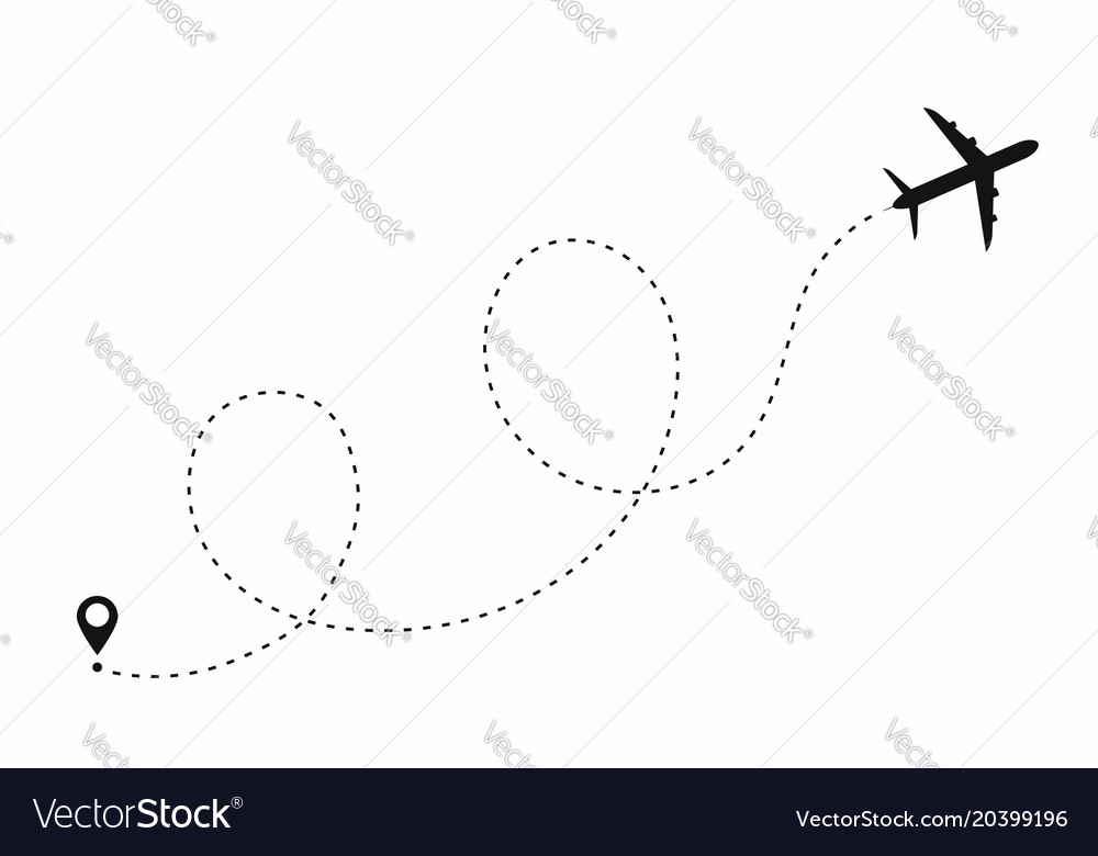 airplane path in dotted line shape route of plane vector image rh vectorstock com dotted line vector photoshop dotted line vector brush