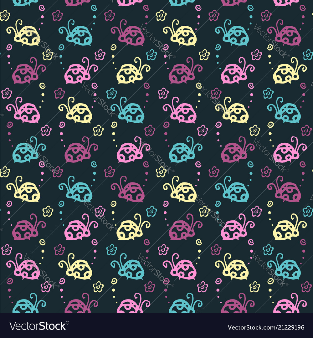 Beetle colorful pattern background with pastel