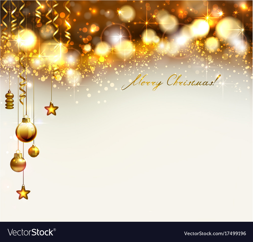 Bright glimmered christmas background with gold