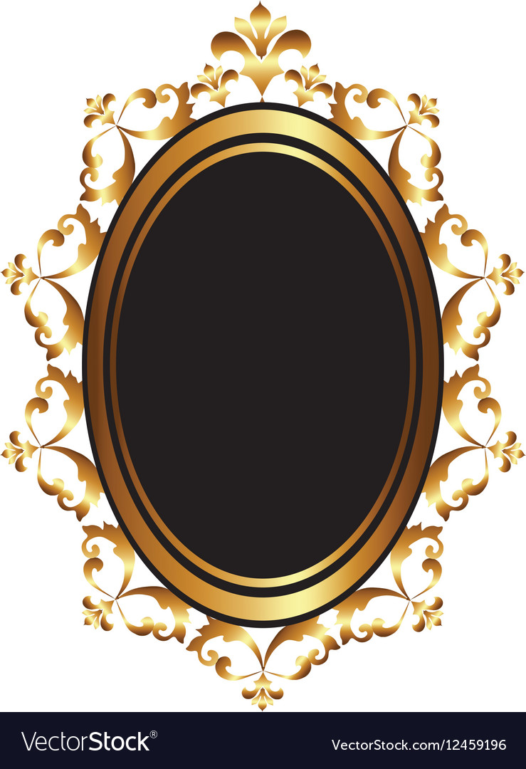 Golden Baroque Mirror Frame Royalty Free Vector Image