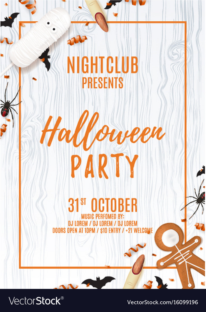 Halloween party poster with treats vector image