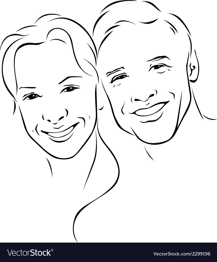 Man and woman - young couple - black outline