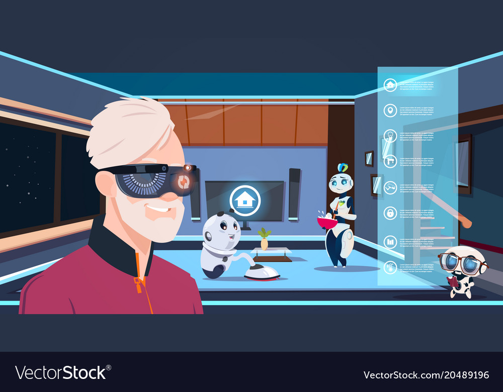 Man in vr glasses looking at group of robots