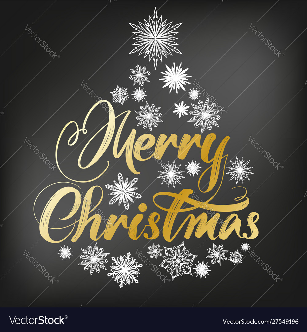 Merry christmas calligraphy lettering text and