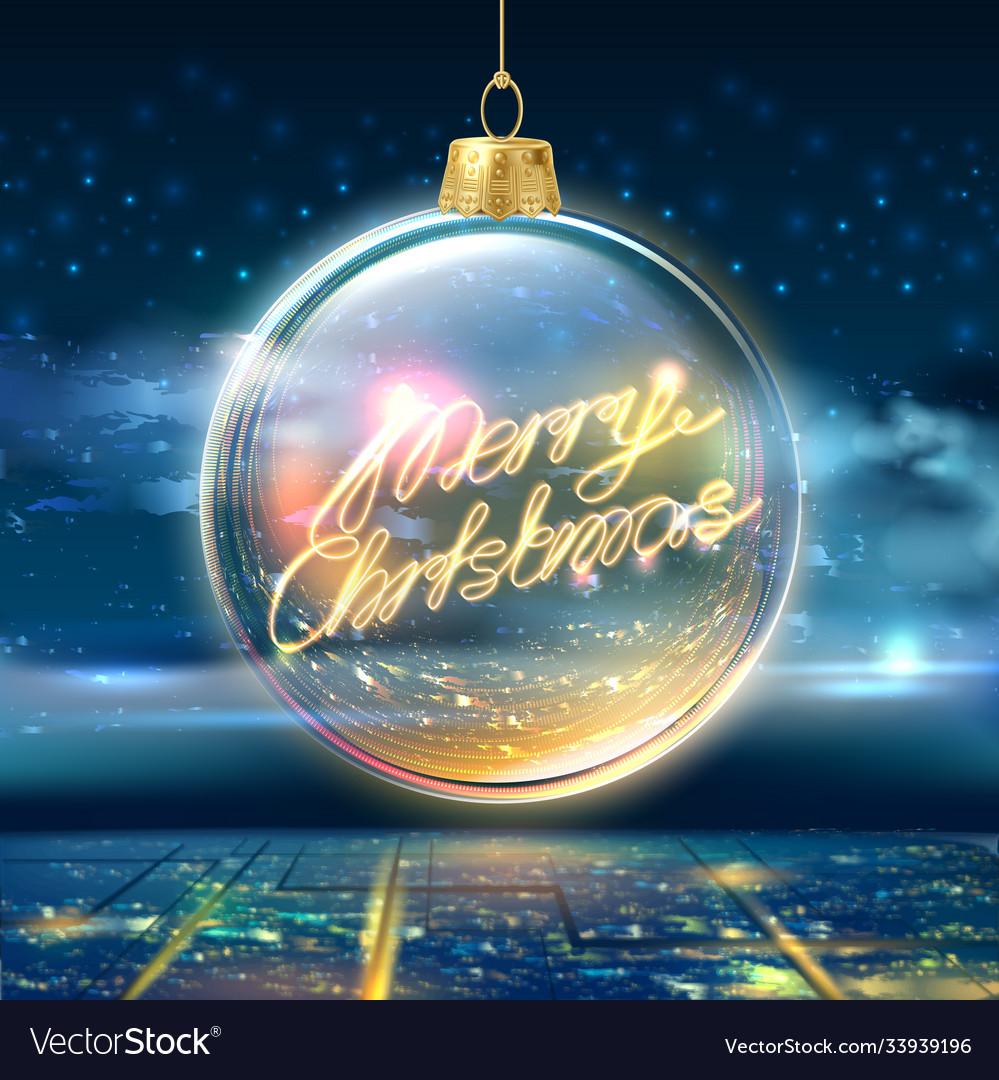 Merry christmas poster tree ball city sky