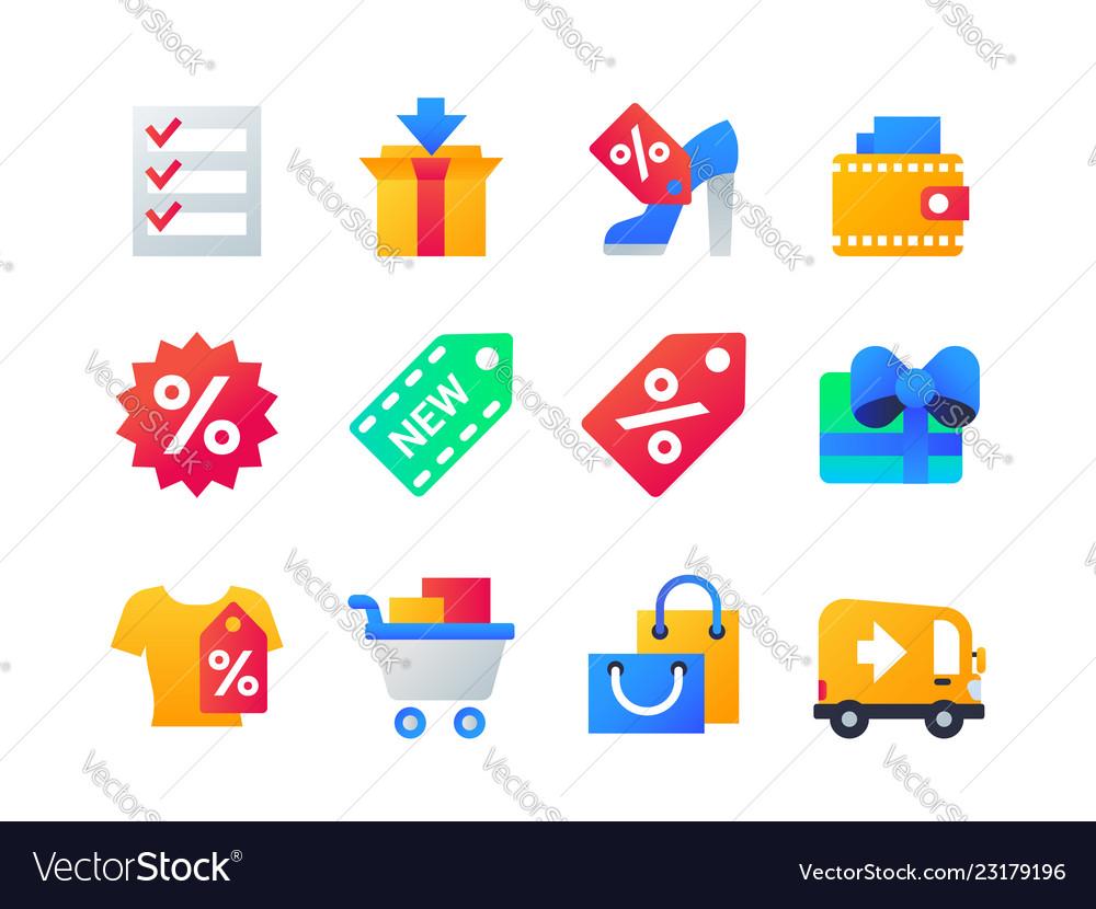 Shopping - set of flat design style icons