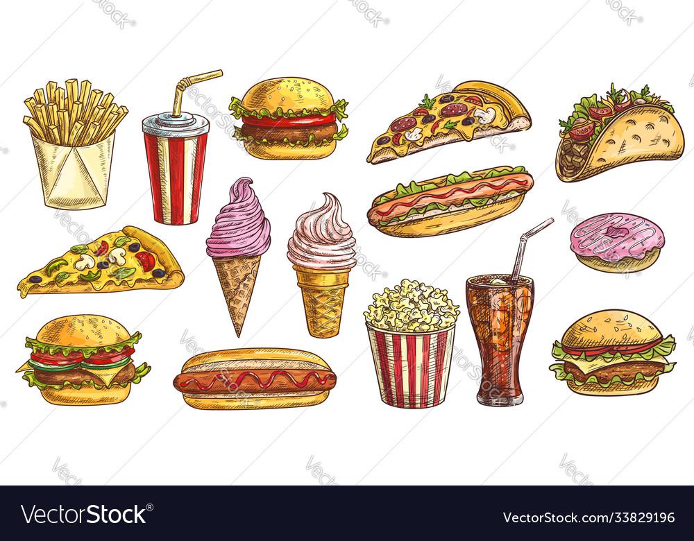Sketch fast food meals engraving retro signs set