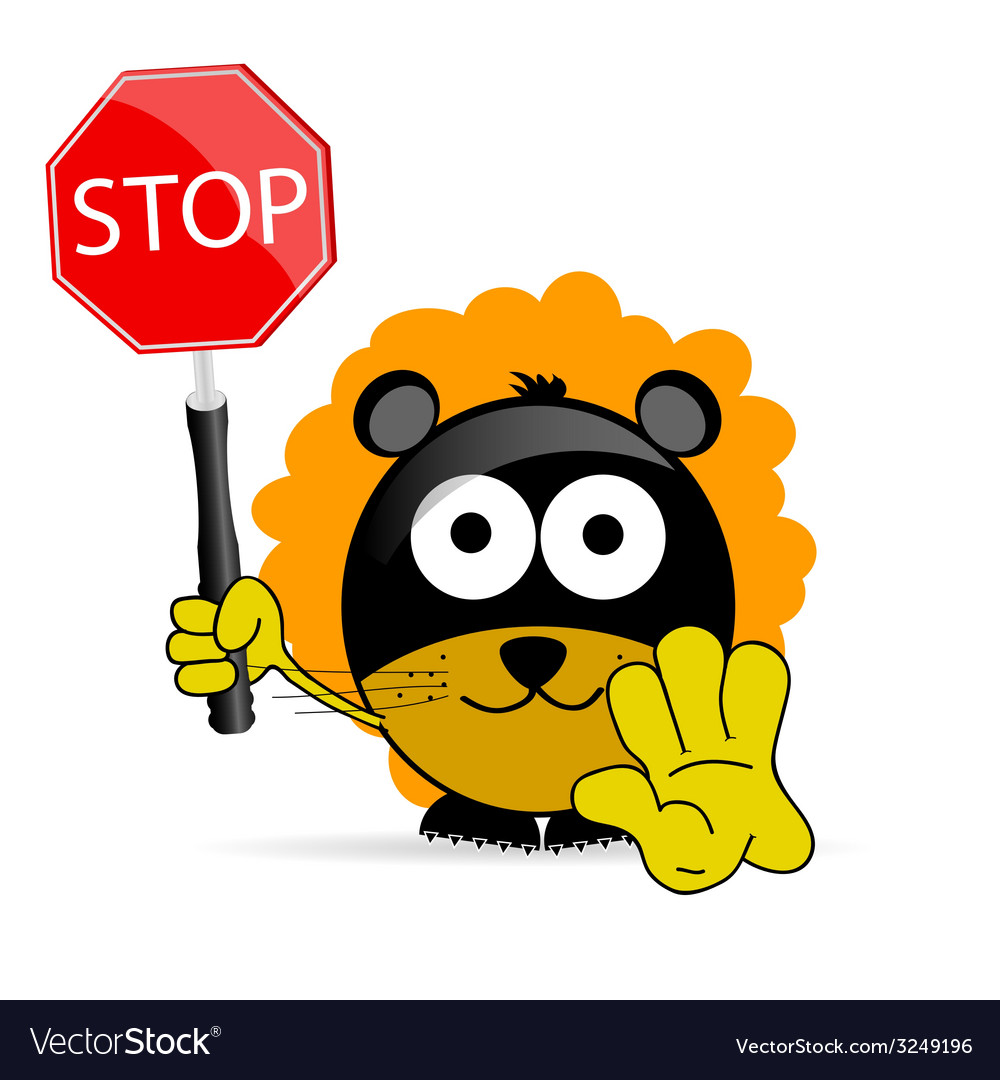 Sweet and cute lion with sign stop vector image