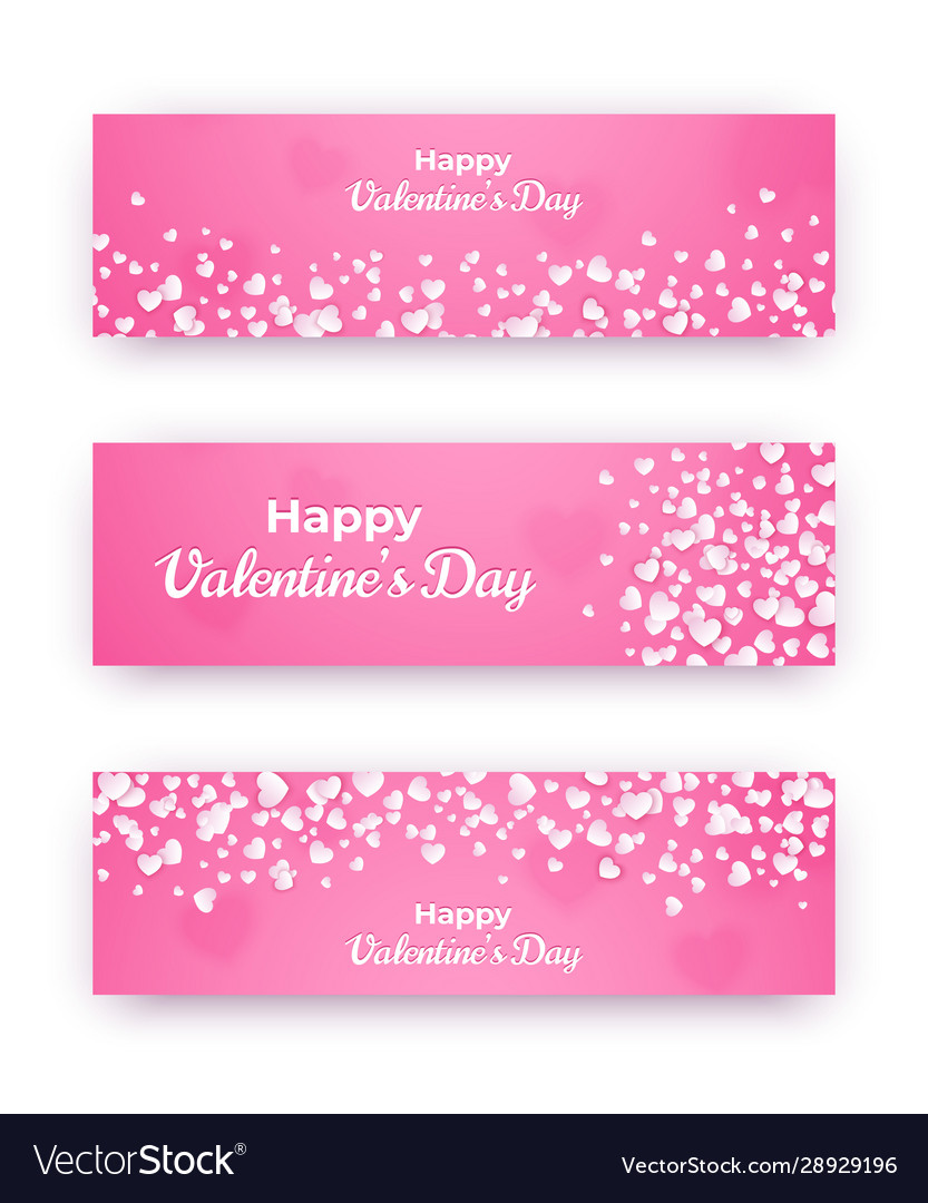 Valentine day banner set pink love coupons