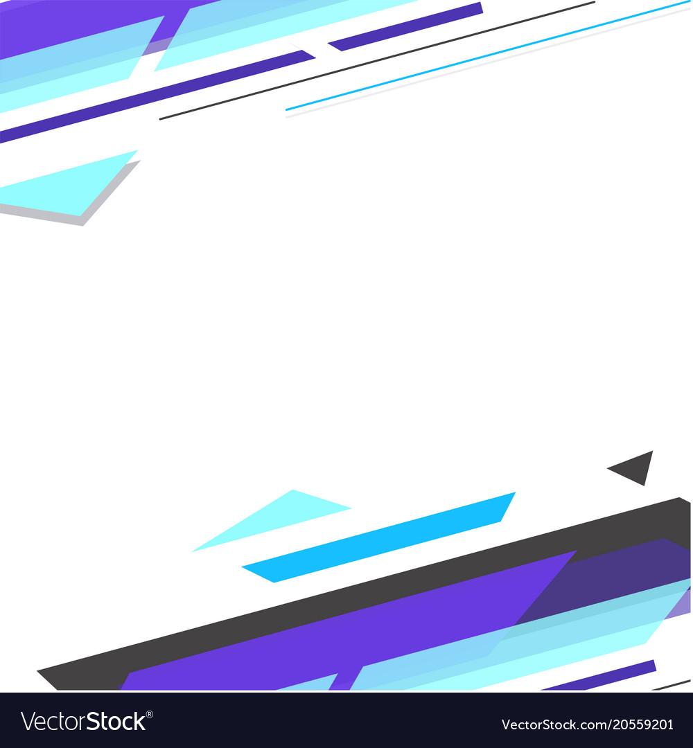 Abstract blue black geometric white background vec