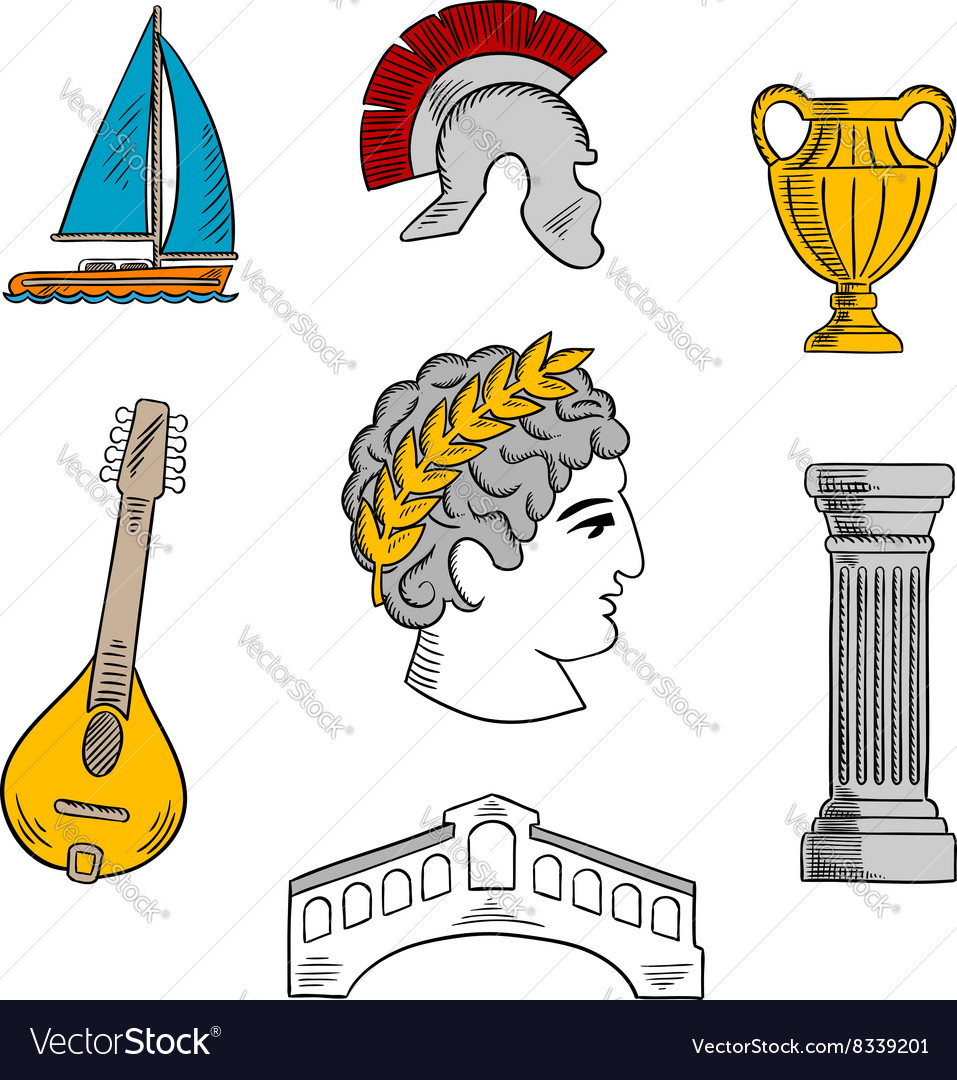 Attractions of Italy sketch for tourism design vector image