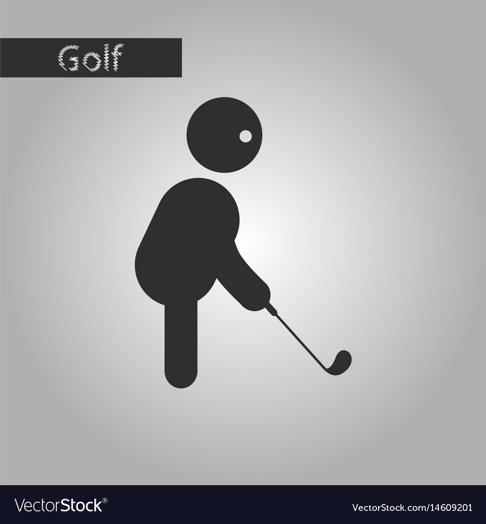 Black and white style icon stick figure golf