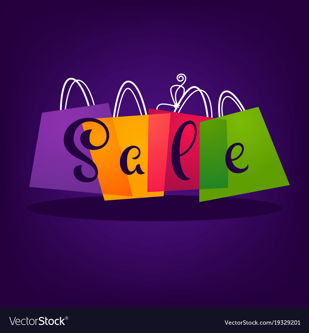 Bright sale background with shopping bags and