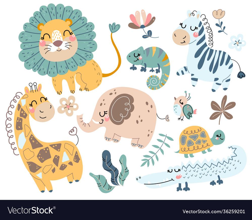 Cute wild safari african animals