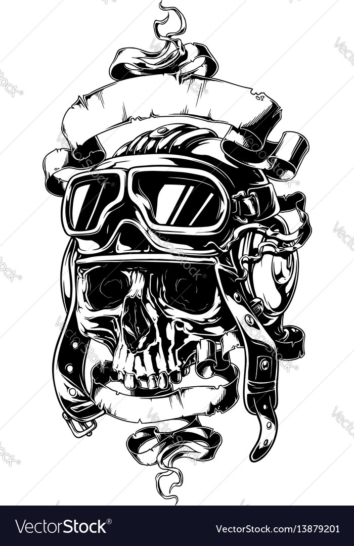 Detailed human skull in helmet with ribbons tattoo vector image
