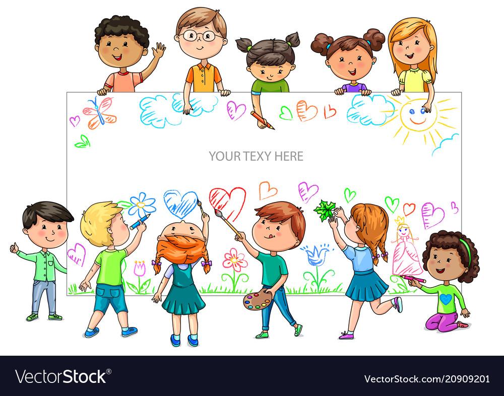 Funny cartoon children of different nationalities