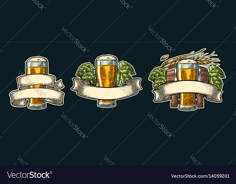 Glass beer with ribbon barrel and hop branch