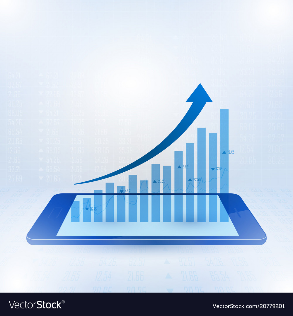Growing graph sign to the top of business profits