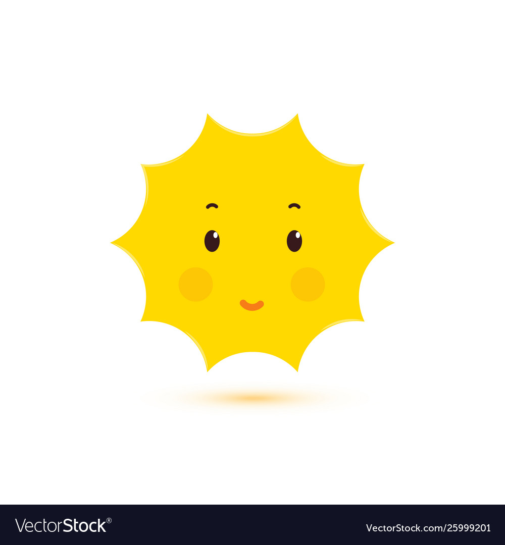 Happy smiling sun isolated icon cute