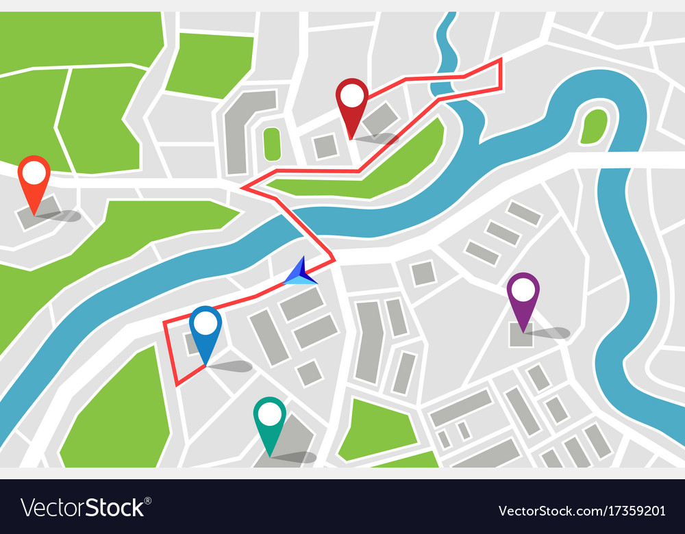 Gps Route Map Map with route and gps pointers Royalty Free Vector Image