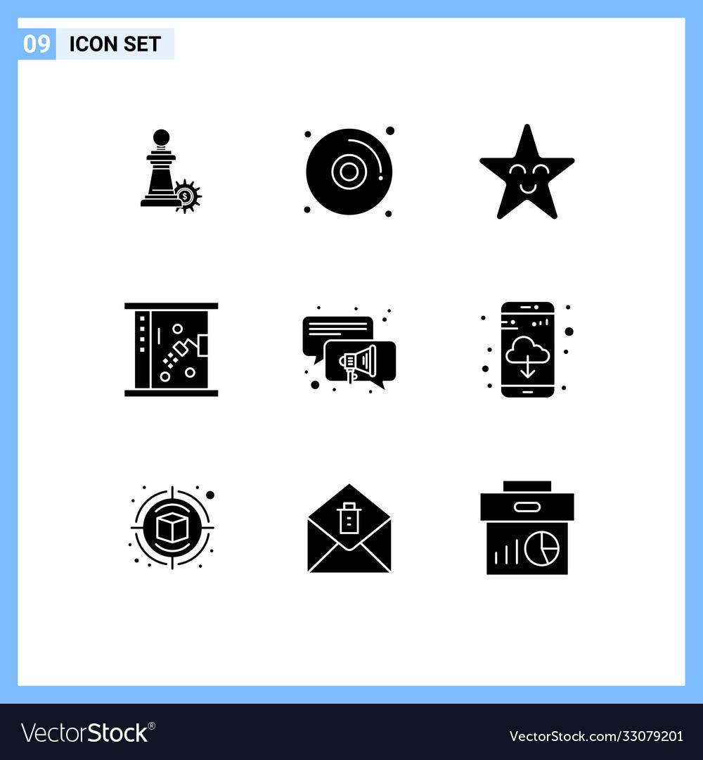Pack 9 Creative Solid Glyphs App Speaker Vector Image