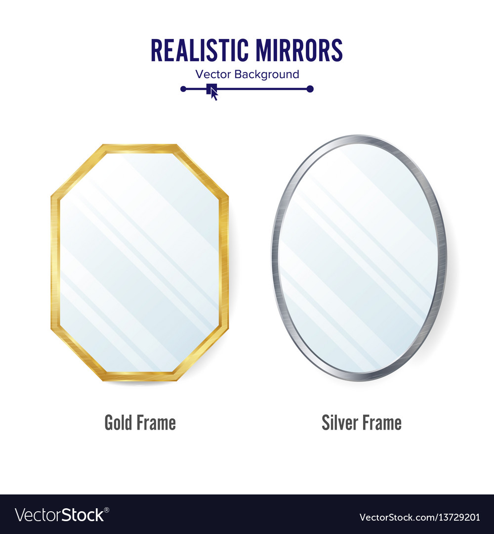 Realistic mirrors set mirror frames or