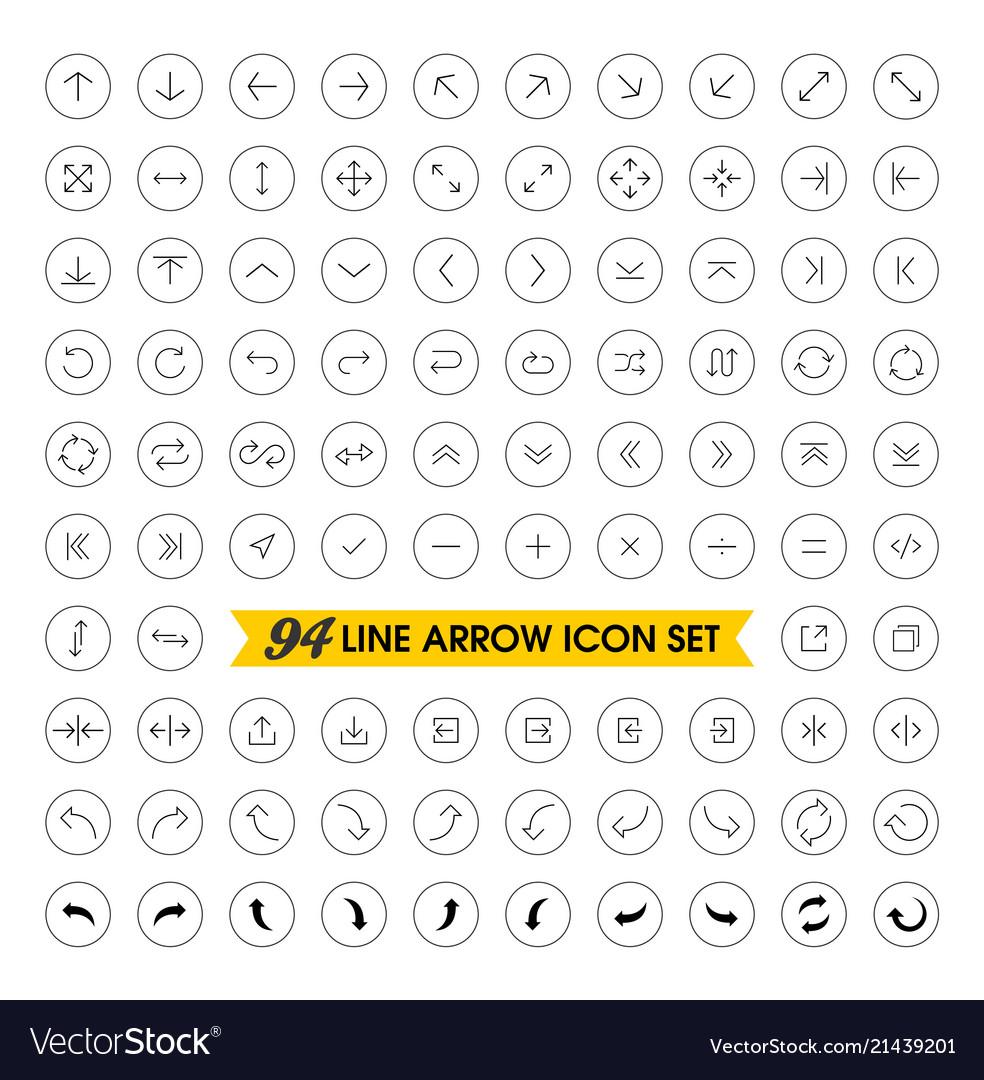 Thin line arrow icons set