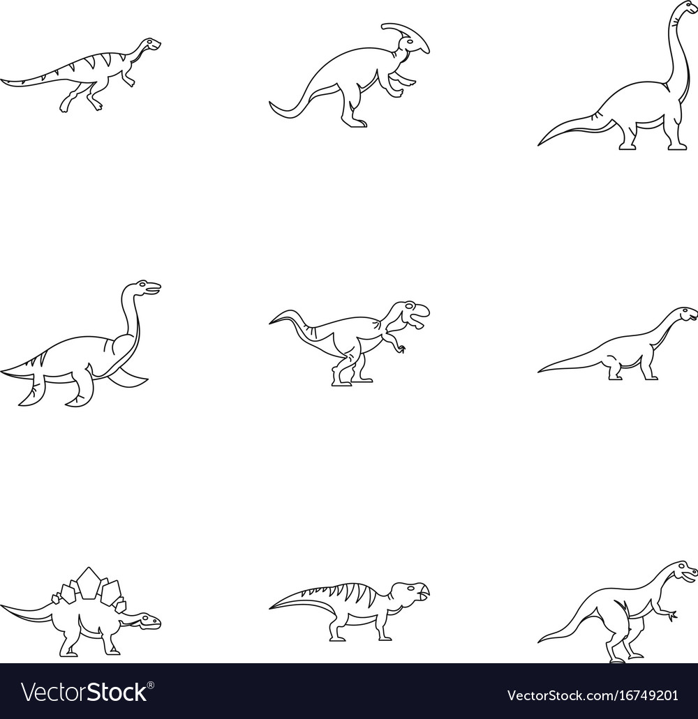 Wild Dinosaur Icons Set Outline Style Royalty Free Vector