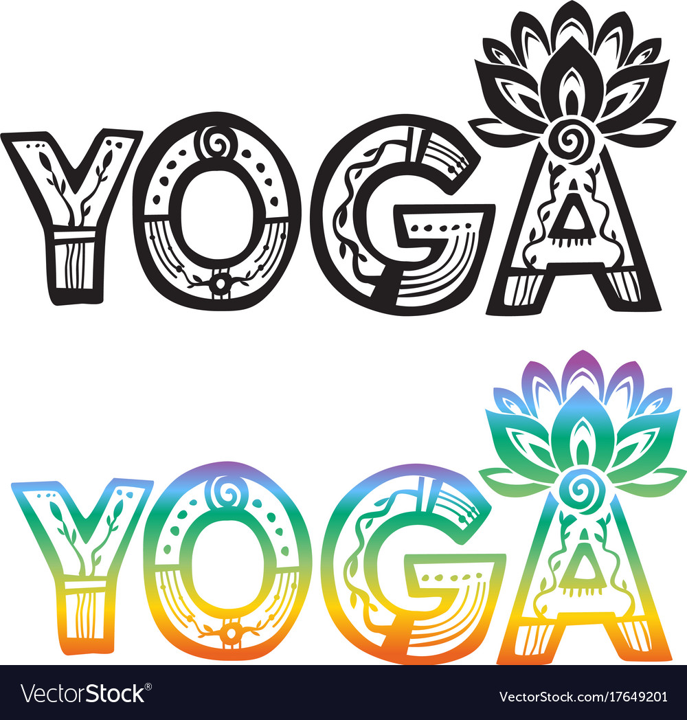 Word yoga with lotus flower royalty free vector image word yoga with lotus flower vector image mightylinksfo