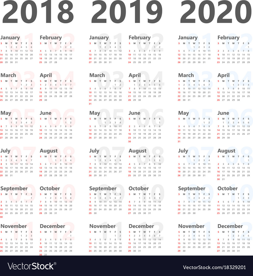 yearly calendar for next 3 years 2018 to 2020 vector image
