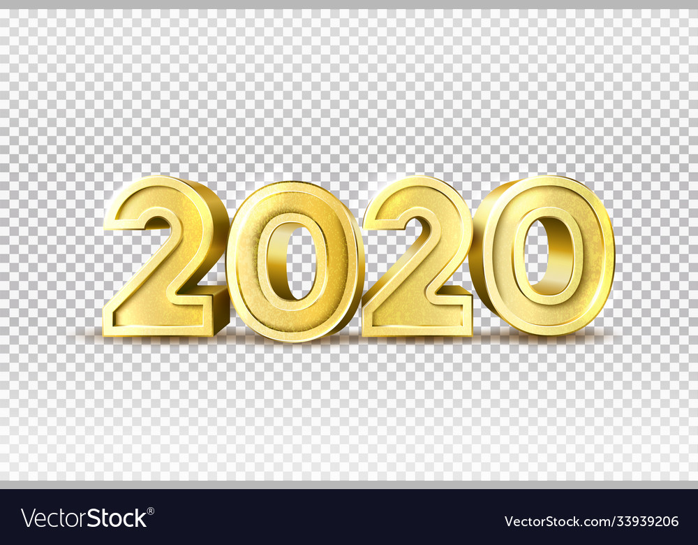 2020 new year holiday 3d golden numbers