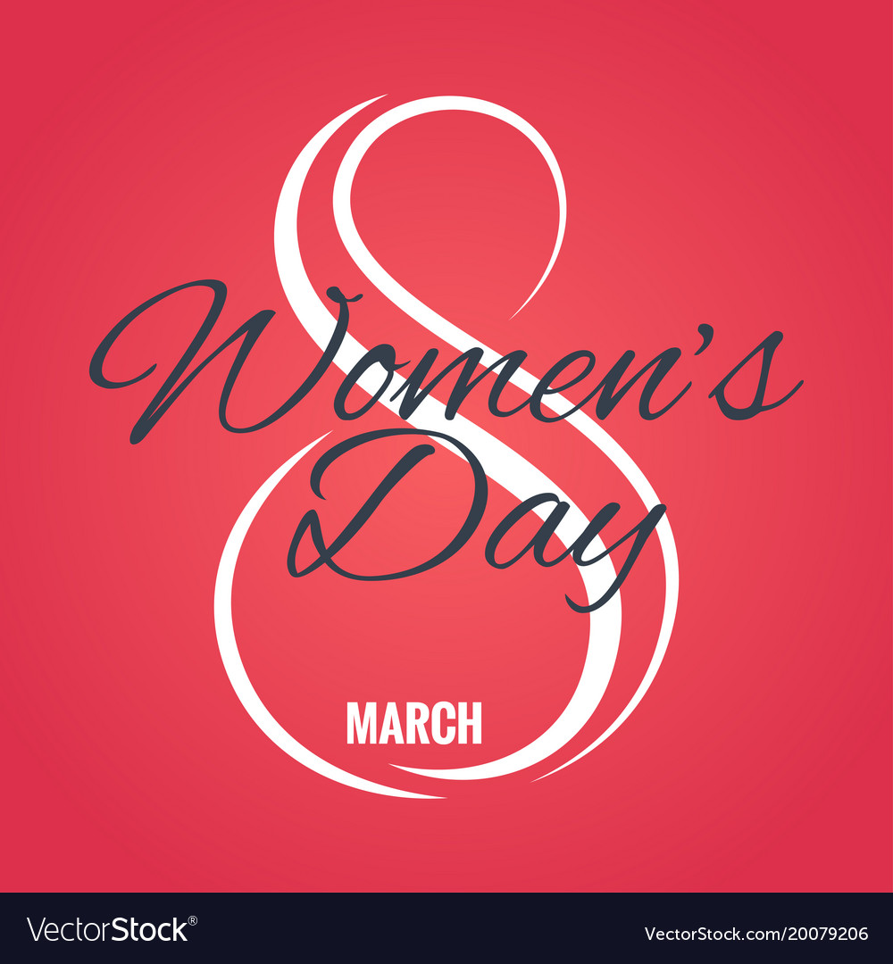 8 march logo womens day card on red background