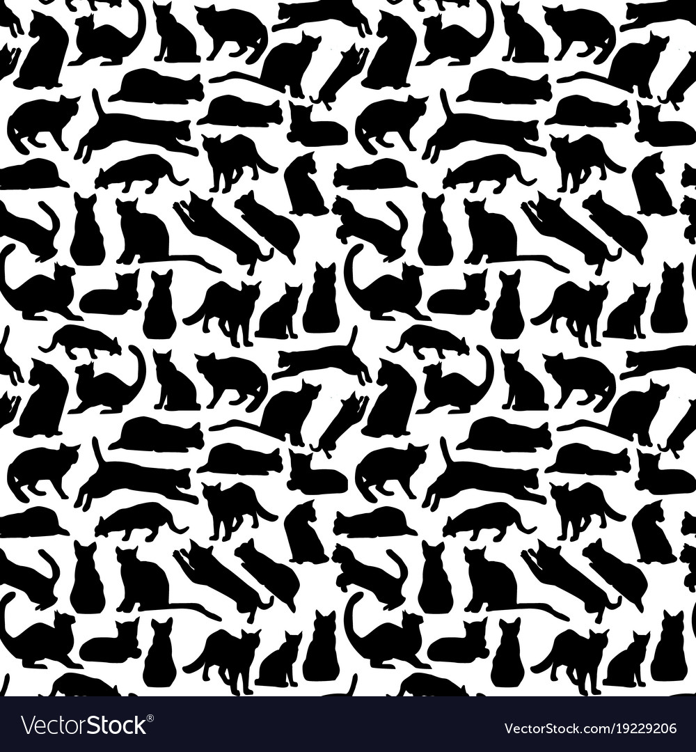 Background with cats collection silhouette