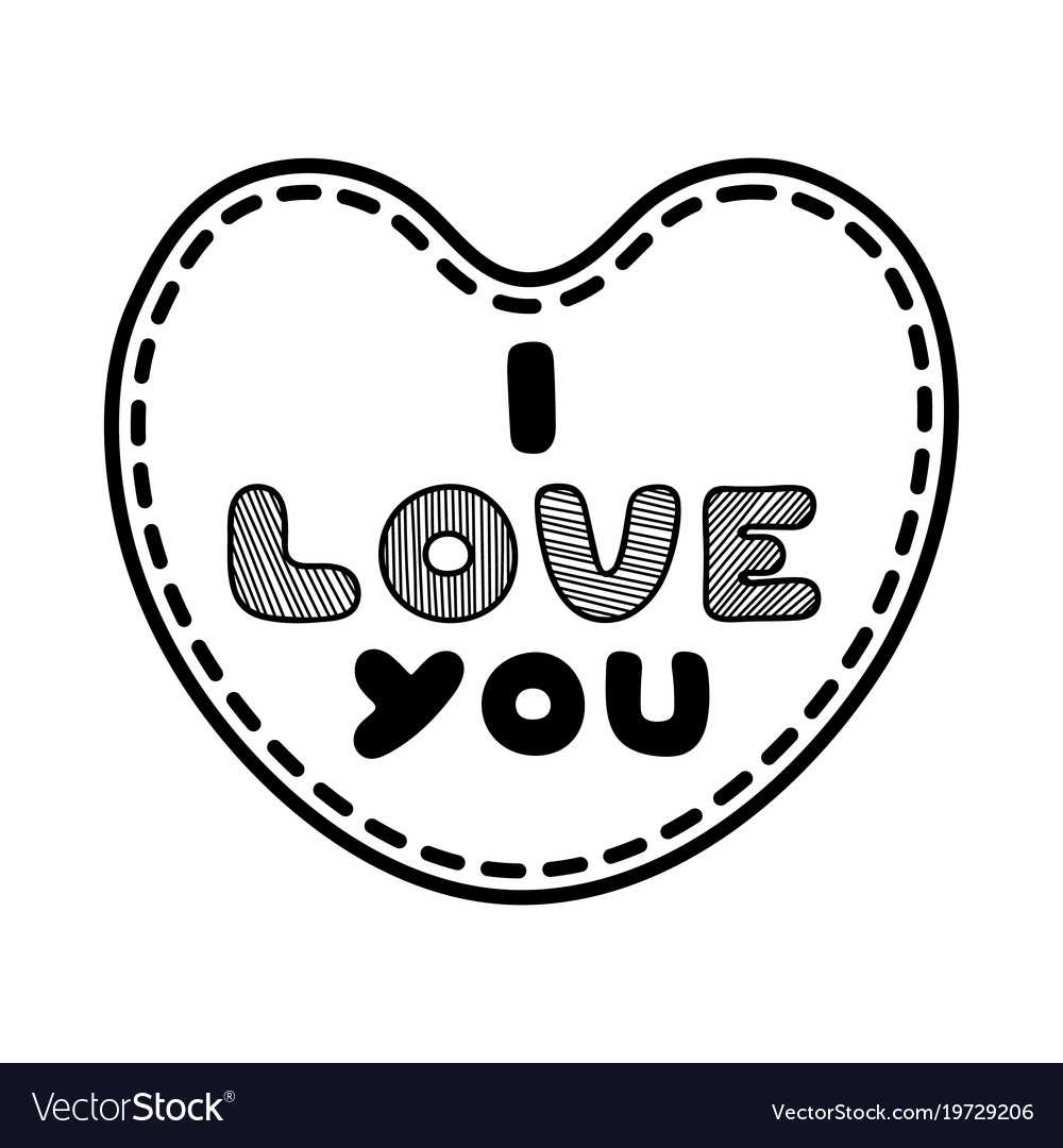 Cartoon heart with cute text i love you for