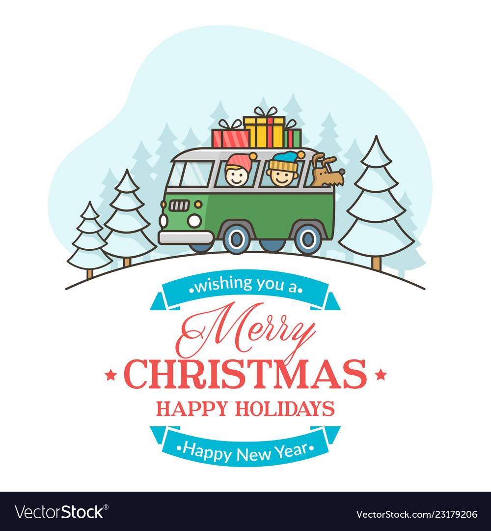 Christmas greeting card with editable text