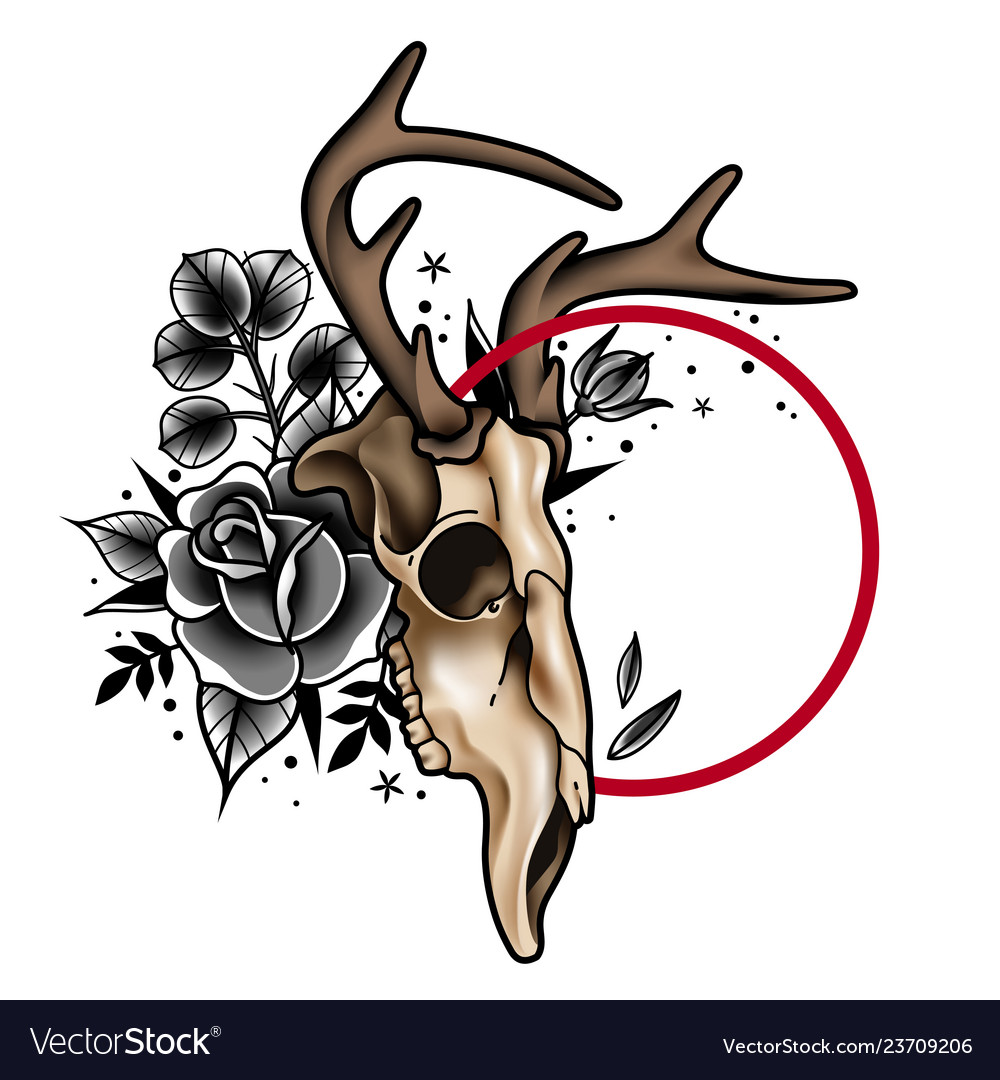 Decorative tattoo deer skull and roses with a