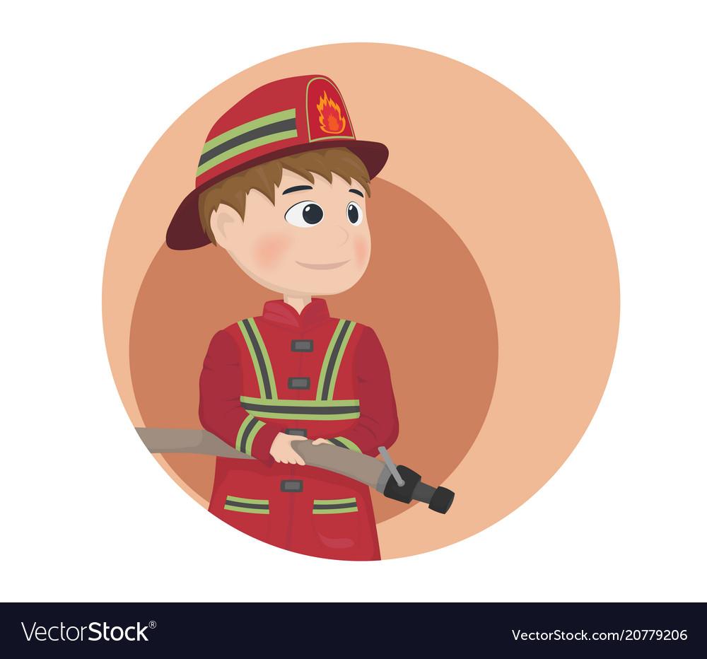 Fireman icon cartoon character