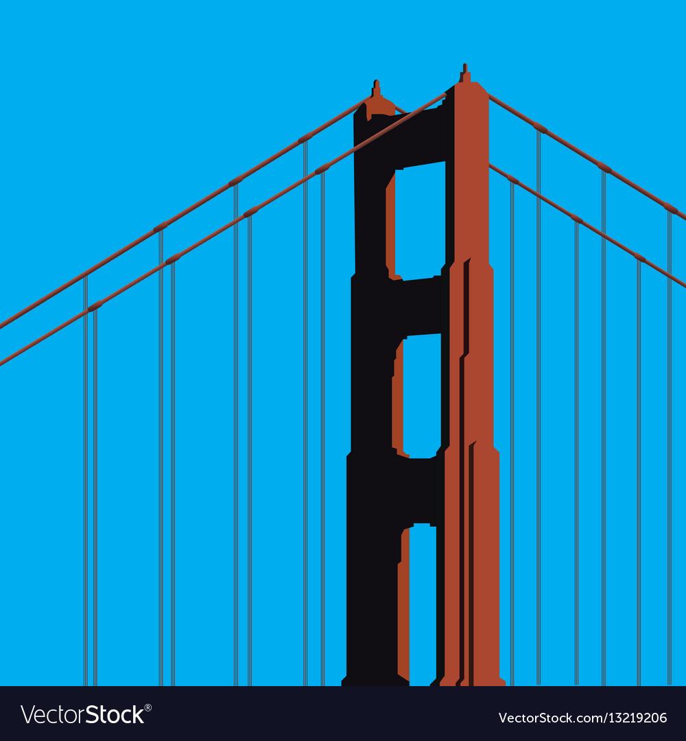 Golden gate bridge tower vector image