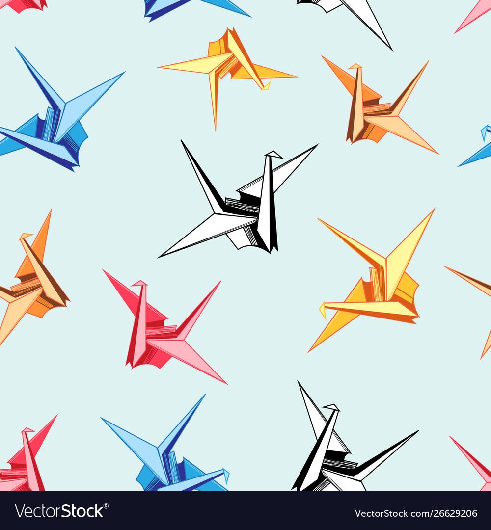 Graphic pattern origami birds