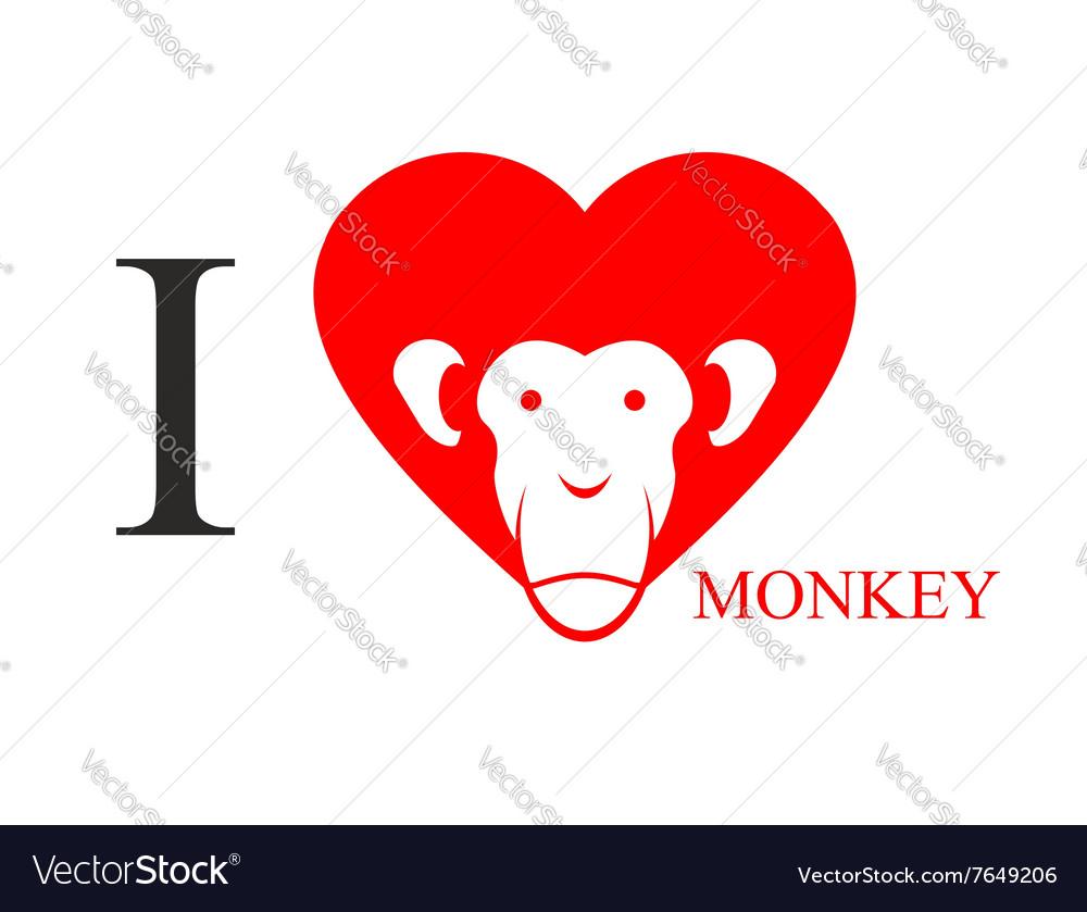 I Love Monkey Heart Symbol In Form Of Head Monkey Vector Image