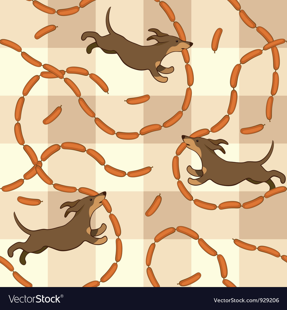 Lucky dogs with sausages vector image