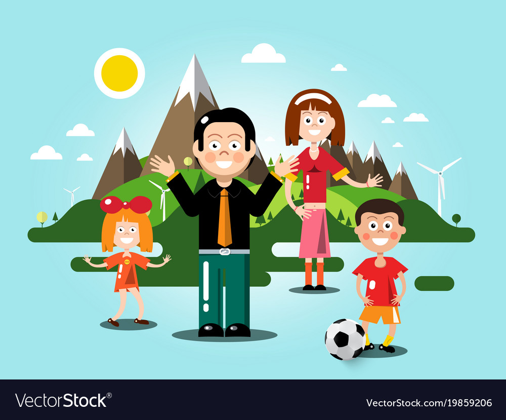 People with flat design landscape on background vector image