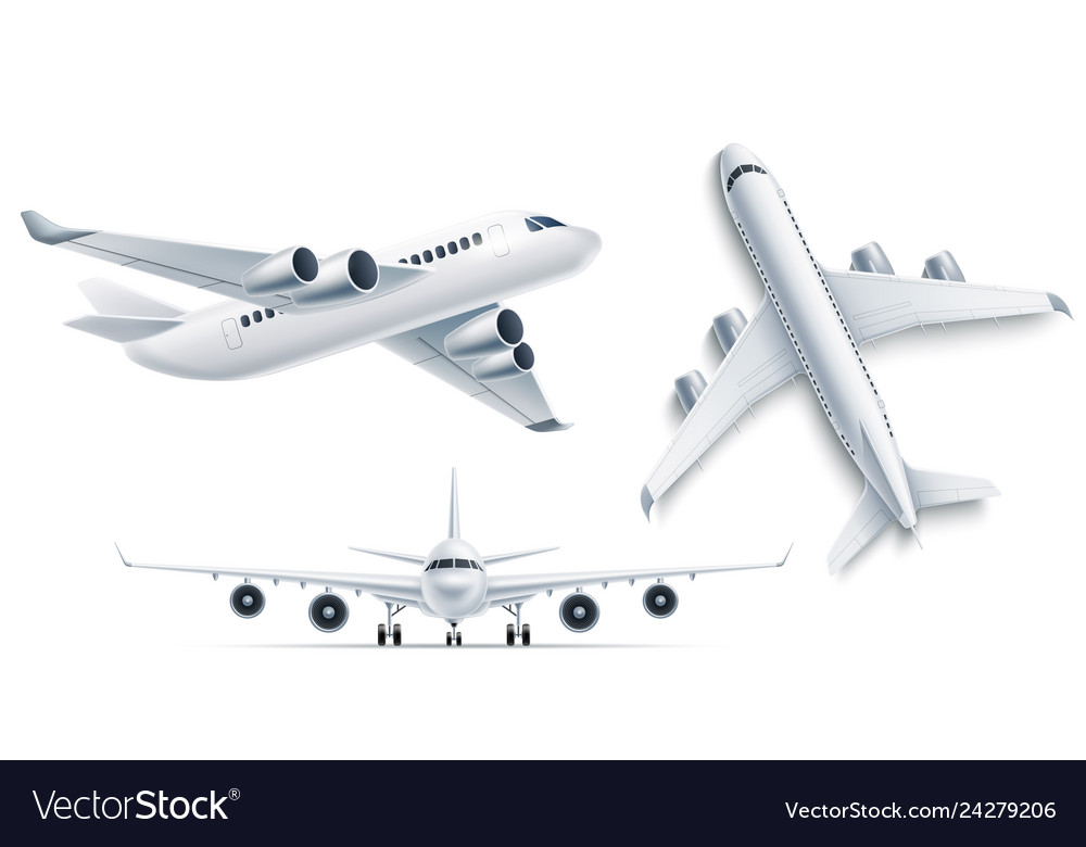 Realistic airplane aircraft white 3d mockup