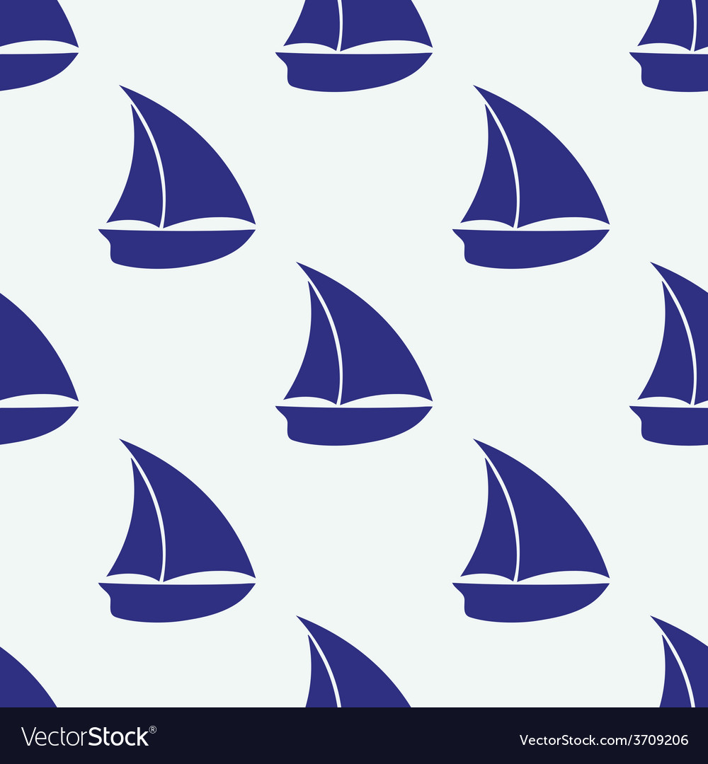 Seamless pattern with sea elements ship