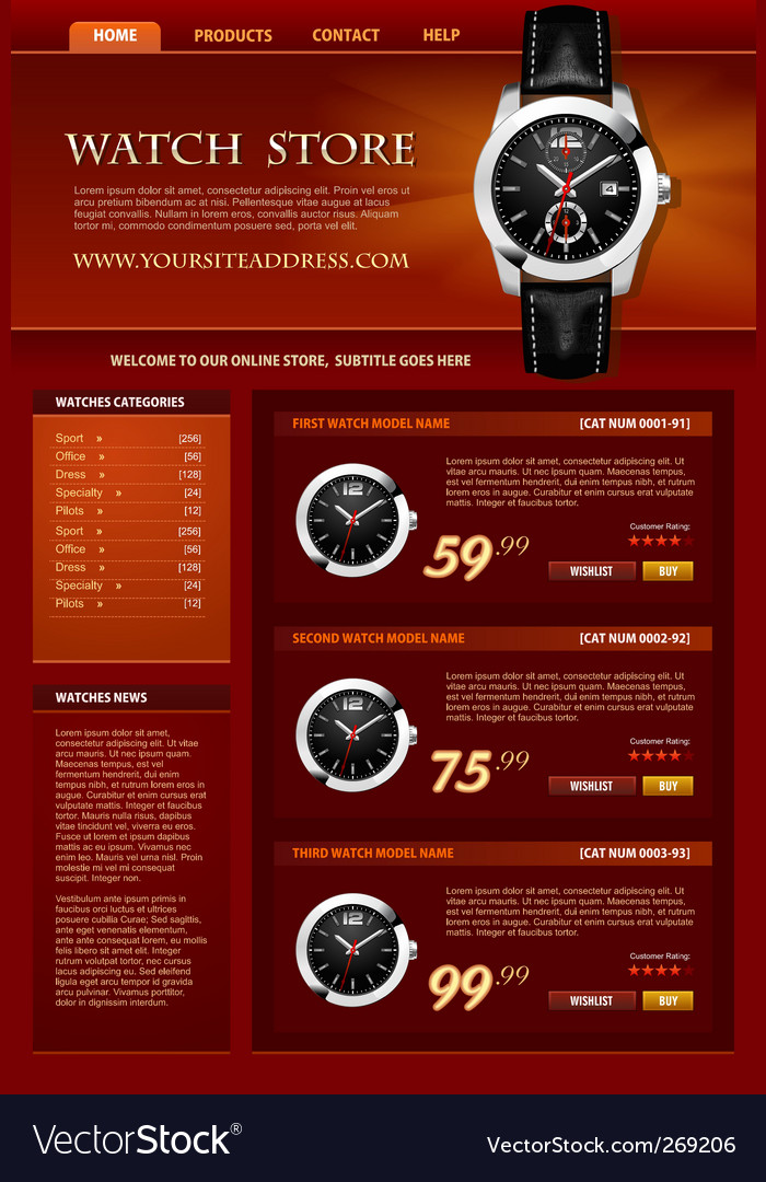 Watch store web site